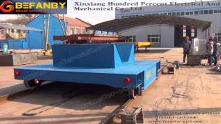 Cable powered paper roll rail transport vehicle warehouse transfer