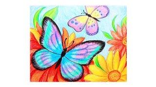 Уроки рисования  Как нарисовать БАБОЧКИ и ЦВЕТЫ мелками ArtBerry how to draw a butterfly