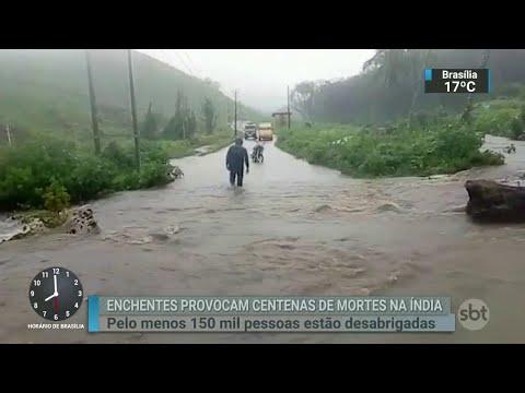 Inundações deixam mais de 300 mortos no Sul da Índia | SBT Brasil (17/08/18)