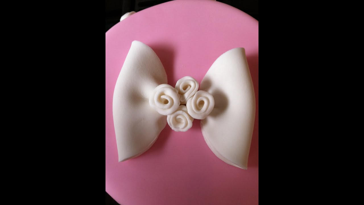How to Make a Fondant Bow With Ribbon Roses  YouTube