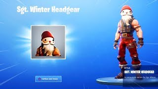 * NOVO * HEADGEAR Natal em Fortnite! (Novo SGT. inverno Skin headgear gameplay)