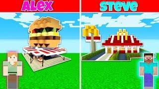 Minecraft: FAST FOOD RESTAURANT BUILD CHALLENGE - ALEX vs STEVE in Minecraft