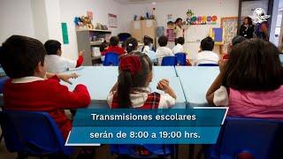 Los contenidos escolares se transmitirán de manera íntegra, sin comerciales y diariamente de las 08:00 a las 19:00 horas a través de canales de Televisa, TV Azteca, Multimedios-Milenio e Imagen, los canales 11, 22 y 14, y las televisoras de los estados