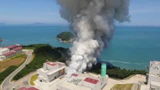 [KARI]한국형발사체 75톤급 액체엔진 시험모델 1호기 목표 연소시간(145초) 연소시험 성공 헬리캠 이미지