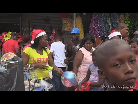Christmas shopping walking down Water Street,Georgetown, Guyana (HD)