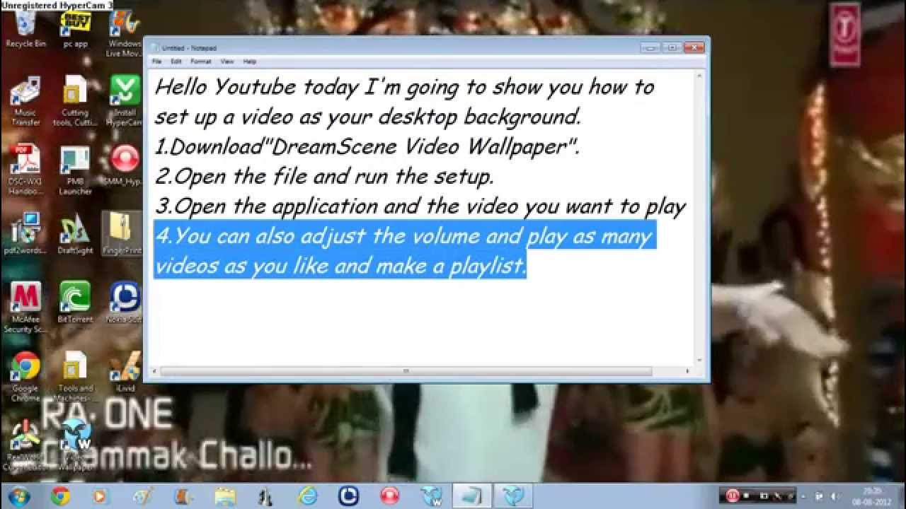 How To Set A Video As Your Desktop Background On Windows 7 Youtube