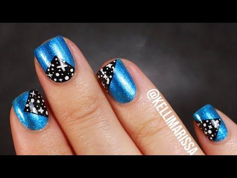 easy beginner galaxy patch nail art design tutorial