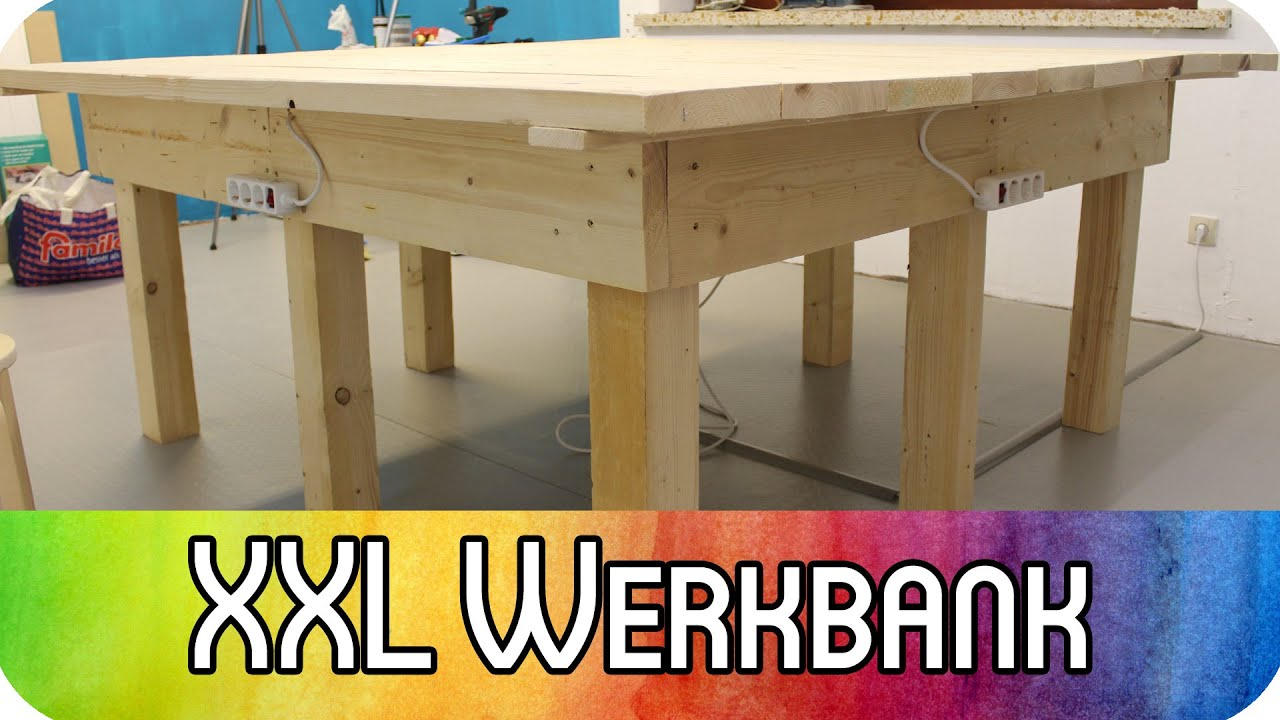 diy heimwerken werkstatt xxl werkbank aus holzdielen kreativbunt youtube. Black Bedroom Furniture Sets. Home Design Ideas