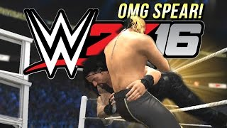 WWE 2K16 : Roman Reigns OMG Spear On Seth Rollins