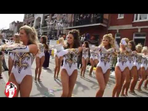 The LSU Tiger Marching Band on Mardi Gras day in New Orleans