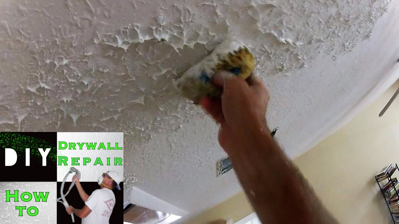 How To Use A Sponge Match Knockdown Texture 2 Tape Joint Ceiling Repair