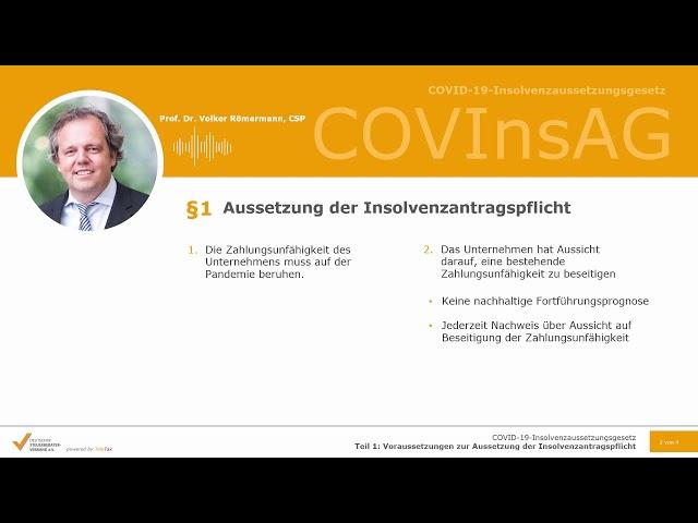 COVID19-InsolvenzaussetzungsgesetzTeil 1: Voraussetzungen zur Aussetzung der Insolvenzantragspflicht