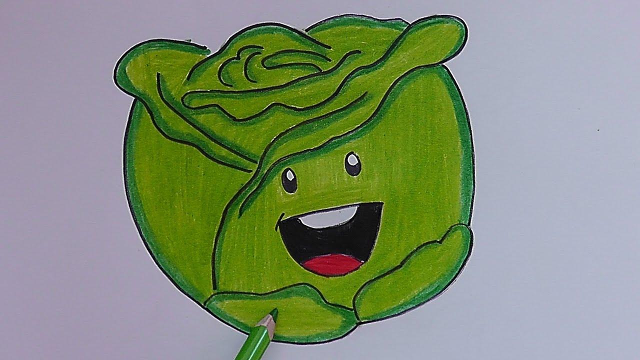 Como dibujar y pintar paso a paso a lechuga how to draw for Como pintar un mural infantil
