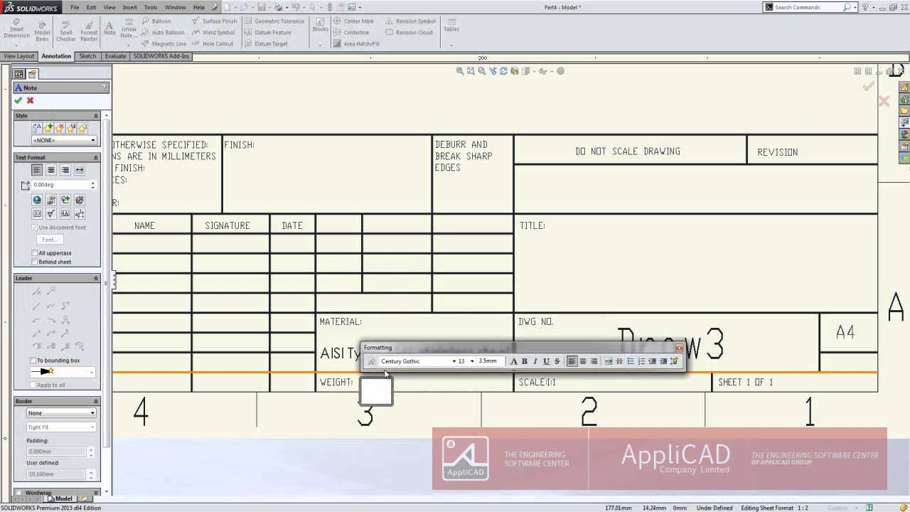 Applicad indonesia solidworks tips trick pembuatan for Solidworks drawing template tutorial