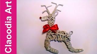 renifer z papierowej wikliny reindeer wicker paper