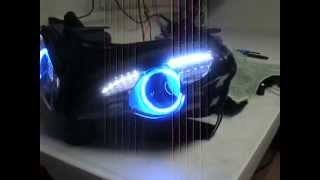 08 13 ducati 848 8 55w hid bi xenon projector headlight retro fit by sick hids