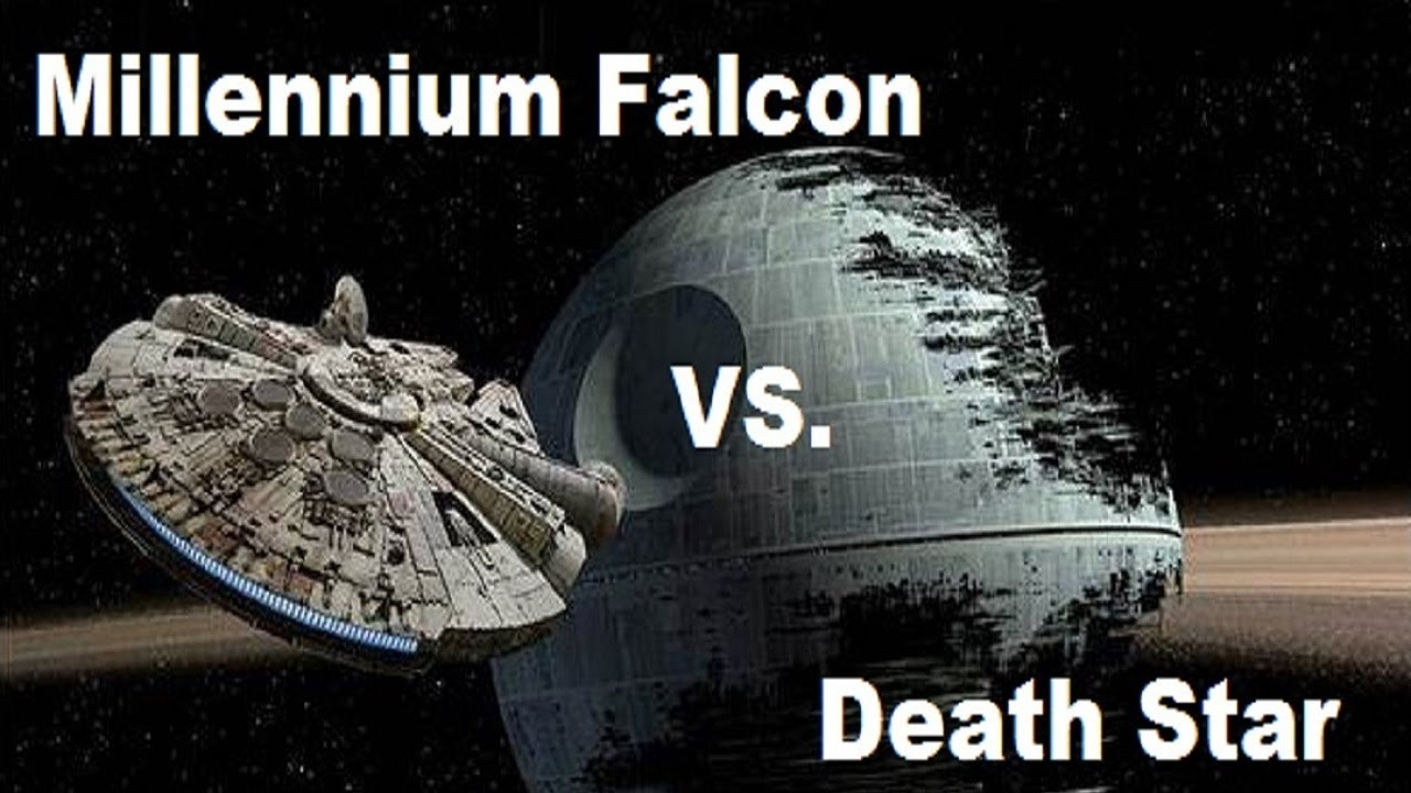 the millennium falcon vs the death star youtube. Black Bedroom Furniture Sets. Home Design Ideas
