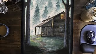 Painting a Book Cover Illustration of a Cabin in the Woods