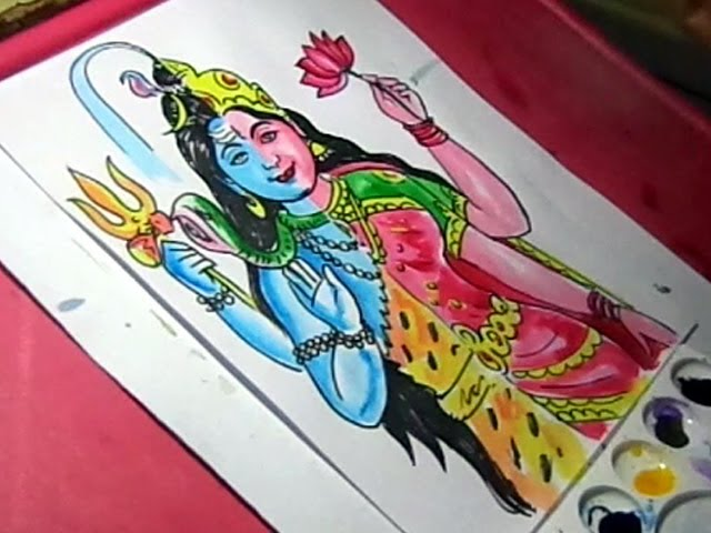 How To Draw Lord Shiva Ardhanarishvara Color Drawing Youtube