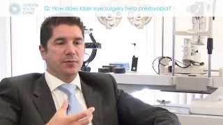 How does laser eye surgery help presbyopia?