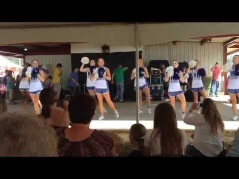 15-16 Highland Home High School Varsity Cheerleaders. Perform at Peanut Festival..
