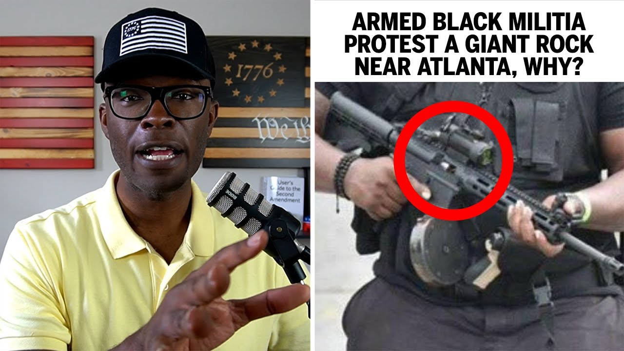 """Armed Black Militia """"NFAC"""" Protest A ROCK CARVING Near Atlanta"""