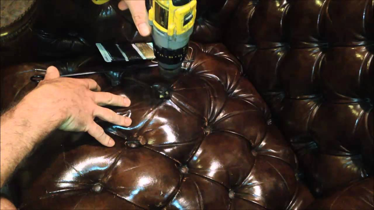 Repair / Restore Leather Tufted Wingback Chair Tutorial   YouTube
