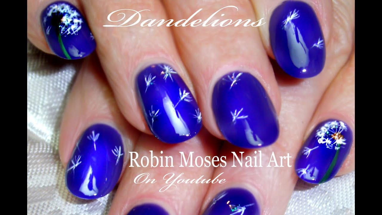 - DIY Easy Dandelion Nail Art Elegant Navy Blue Nails Tutorial - YouTube