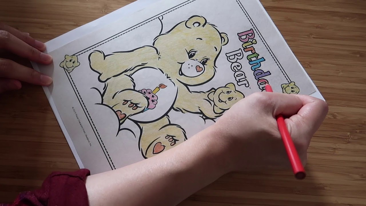Watch Me Color Birthday Bear Care Bears Coloring Book Page With