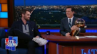 Kevin Love Shows Off NBA Championship Trophy by : The Late Show with Stephen Colbert