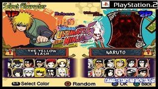 Naruto Shippuden Ultimate Ninja 5 PS2 - LISTA de  TODOS OS PERSONAGENS / ALL CHARACTERS 1444p