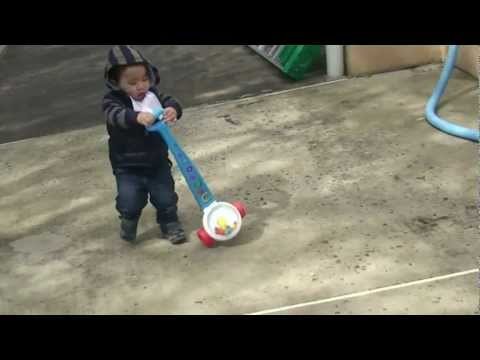 17 Month Old Plays Fisher-Price Corn Popper Push Toy