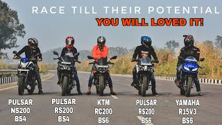 Pulsar RS200 Bs6 Vs R15v3 Bs6 Vs RS200 Bs4 Vs NS200 Bs4 Vs Ktm RC 200 Bs6 || Highway Long Race