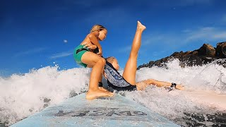 Little Brother SAVES Big Sister! Surf and Swim Lessons Routine in Hawaii.