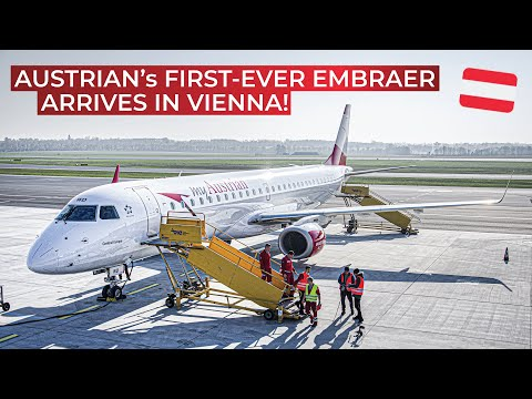 Austrian Airlines recieves FIRST Embraer 195   Fly-by, first landing and close-ups!