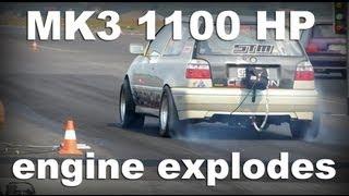 Video VW Golf 3 1100PS / HP 1/4 Race *****engine explodes**** download MP3, 3GP, MP4, WEBM, AVI, FLV September 2018