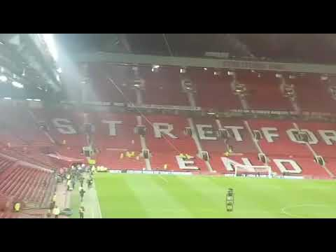 Man City fans after victory at Old Trafford yesterday.