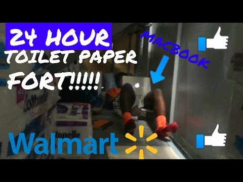 24 HOUR OVERNIGHT WALMART TOILET PAPER FORT !!!! TRIPLE DECKER AND COPS CALLED !!1