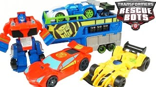 TRANSFORMERS RESCUE BOTS OPTIMUS PRIME RACING TRAILER HAULER BLURR SIDESWIPE BUMBLEBEE TOYS