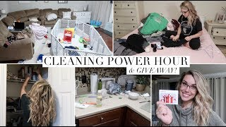 EXTREME CLEAN WITH ME - POWER HOUR | & INSTAGRAM GIVEAWAY! | Cleaning Motivation