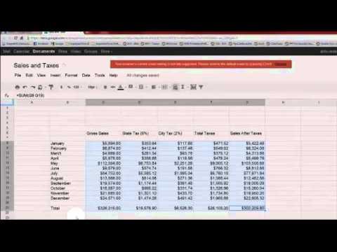 Using Google Docs\u0027 Spreadsheet - Sales and Taxes - YouTube