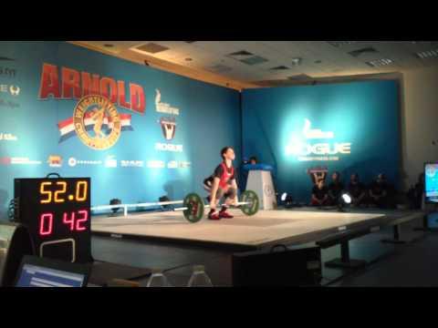Kyle Holman (56kg lifter) 2nd C&J attempt. Arnold 2015.