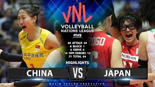 China vs Japan | Highlights | Women\'s VNL 2019