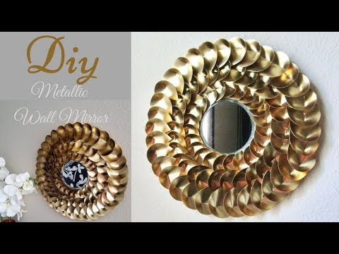 Diy Metallic Gold Wall Mirror Decor| Chinese Money Plant Leaves Shape inspired!