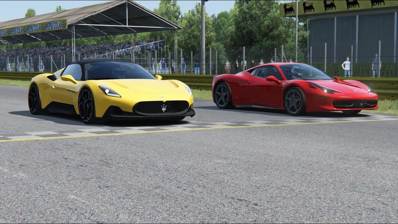 Maserati Mc20 Vs Ferrari 458 Italia At Monza Full Course Youtube