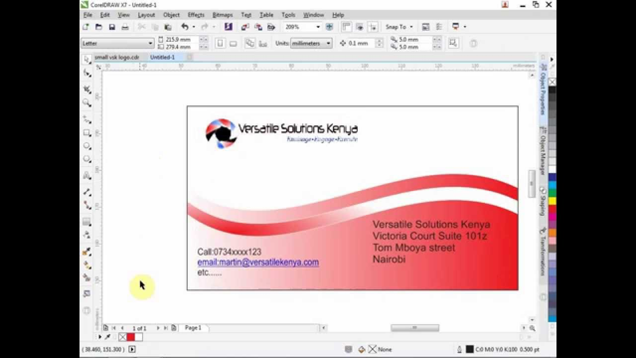 How to create a business card in CorelDRAW 7 - YouTube