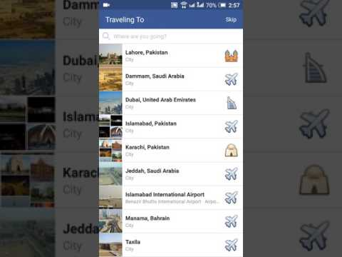 How to update traveling status on Facebook from.....to