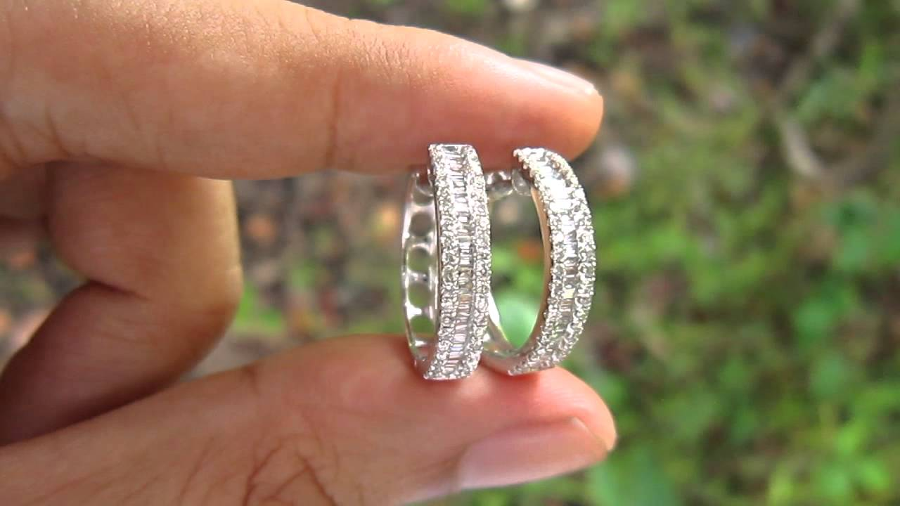 1 42 Carat Round Baguettes Diamond Loop Earrings 18k Hong Kong Setting