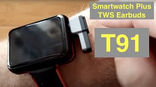 LEMFO T91 Health/Fitness Blood Pressure Smartwatch with integrated TWS Earbuds: Unboxing & 1st Look