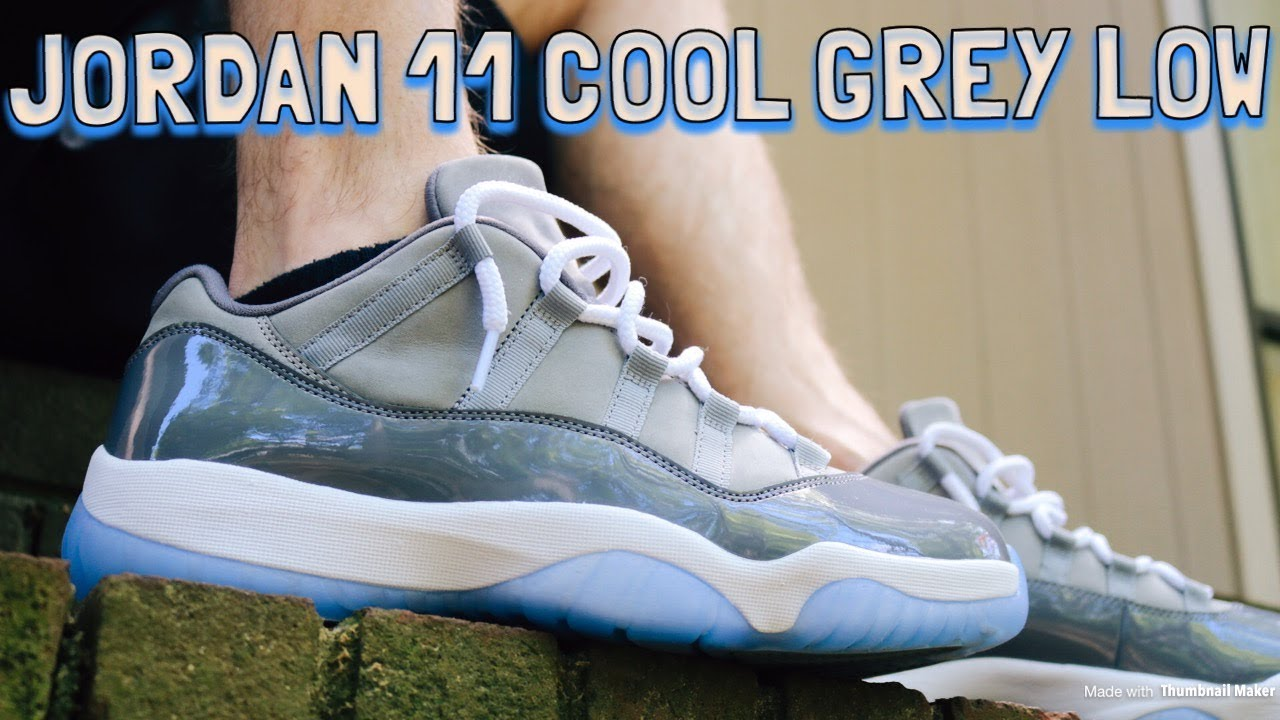 9822fb664c9f6c AIR JORDAN 11 COOL GREY LOW REVIEW   ON OFF FEET LOOKS - YouTube